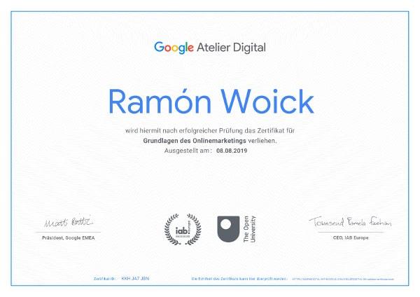 Zertifikat von Google für webquarks Online Marketing