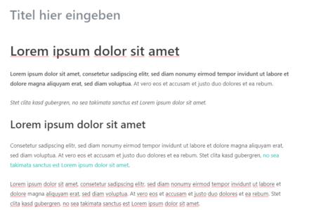 Hier sieht man eine vorformatierte WordPress Textformatierung, die in den Gutenberg Editor eingefügt wurde